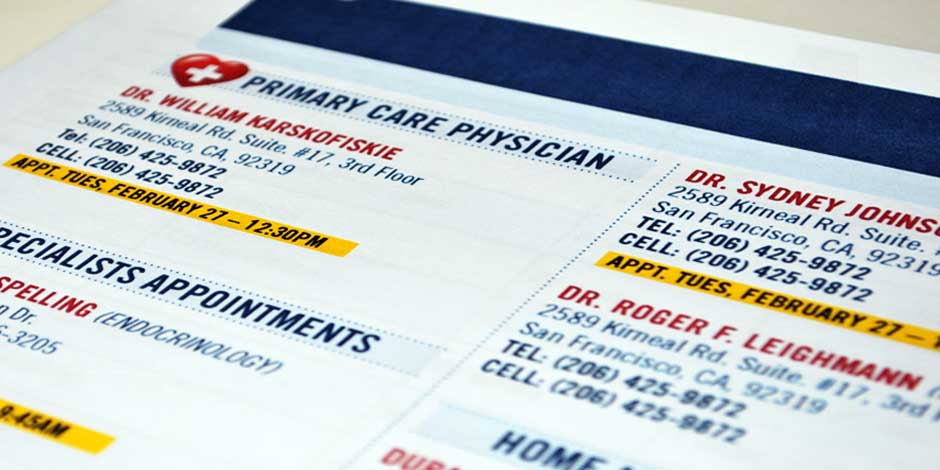 Customized Hospital Discharge Booklet Contacts 2