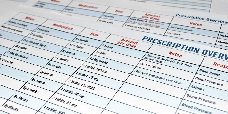 Customized Hospital Discharge Perscription Chart