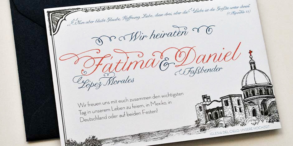 Cover: Custom Mexican German Wedding Invitation