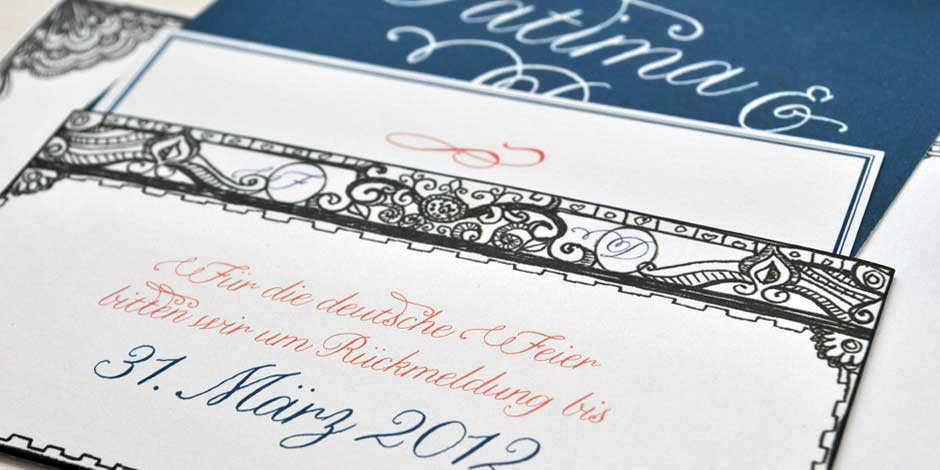 Pocket: Custom Mexican German Wedding Invitation