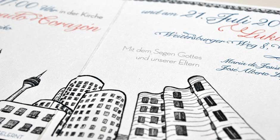 Detail: Custom Mexican German Wedding Invitation