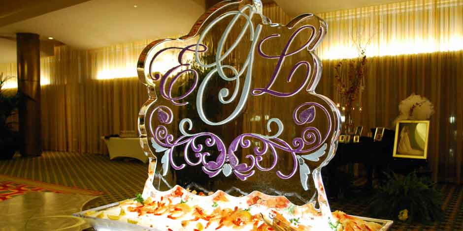Wedding Logo as Ice Sculpture at Louisville Wedding